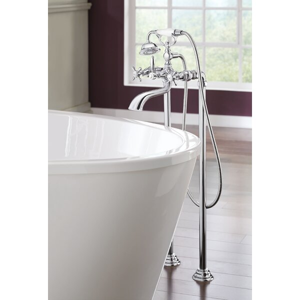 Weymouth Two Handle Floor Mount Tub Filler Trim with Hand Shower by Moen