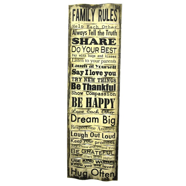 Family Rules Textual Art Plaque by River Cottage Gardens