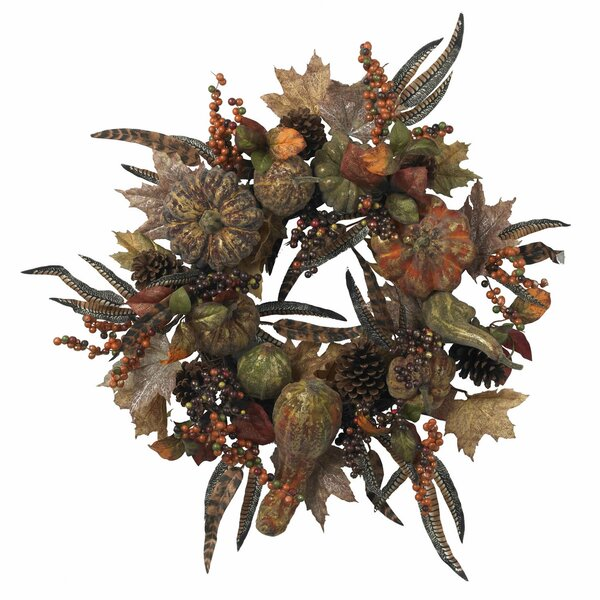 Autumn Pumpkin Wreath by Nearly Natural