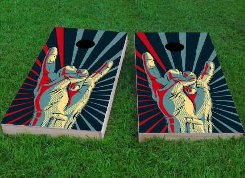 Rock Hand Cornhole Game (Set of 2) by Custom Cornhole Boards