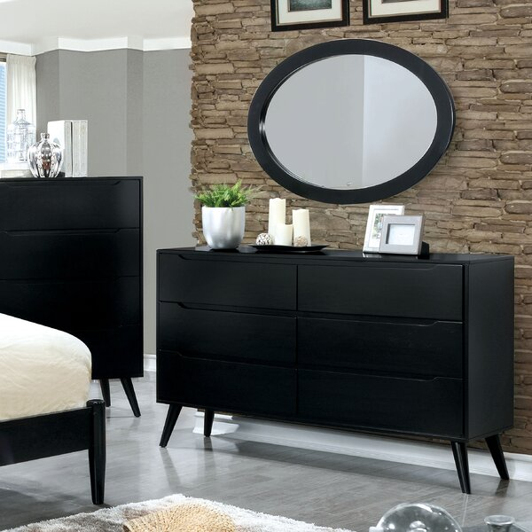 6 Drawer Double Dresser with Mirror by Langley Street