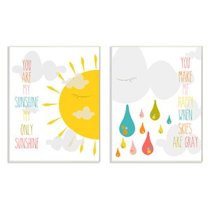 Stella You Are My Sunshine 2 Piece Wall Plaque Set by Viv + Rae