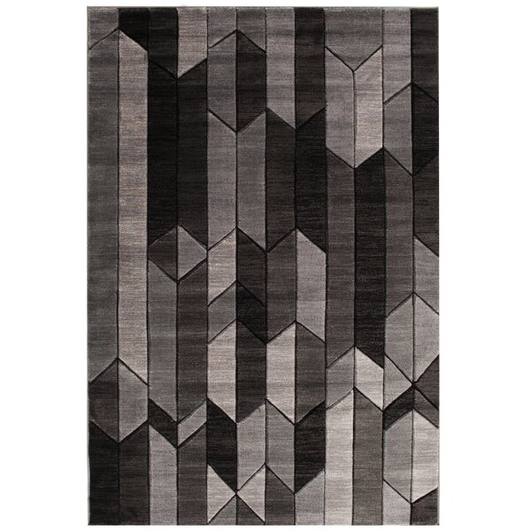 Volmer Hand Carved Gray/Black Area Rug by Orren Ellis