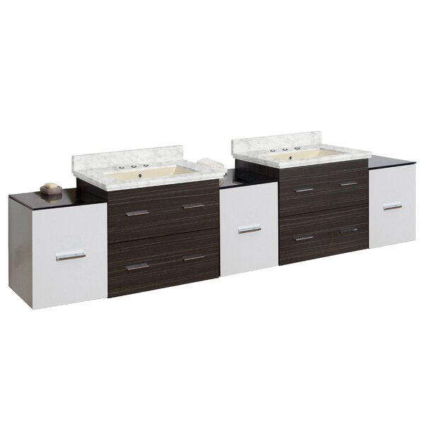 Phoebe Drilling Wall Mount 90 Double Bathroom Vanity Set with Handles by Orren Ellis