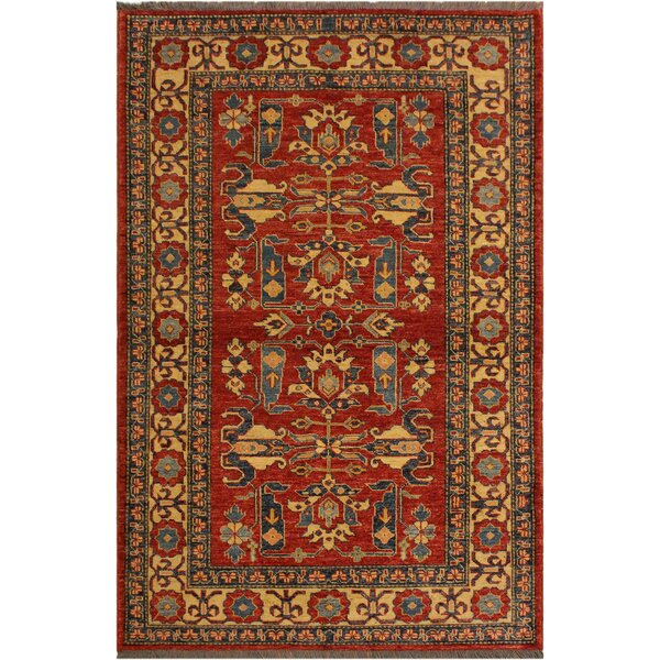 One-of-a-Kind Savannah Super Kazak Hand-Knotted Wool Rust/Ivory Area Rug by Astoria Grand