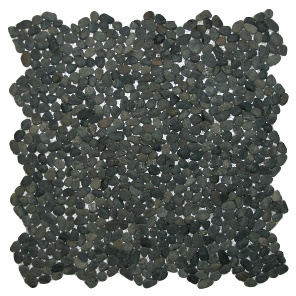Congo Random Sized Natural Stone Mosaic Tile in Charcoal Black by CNK Tile