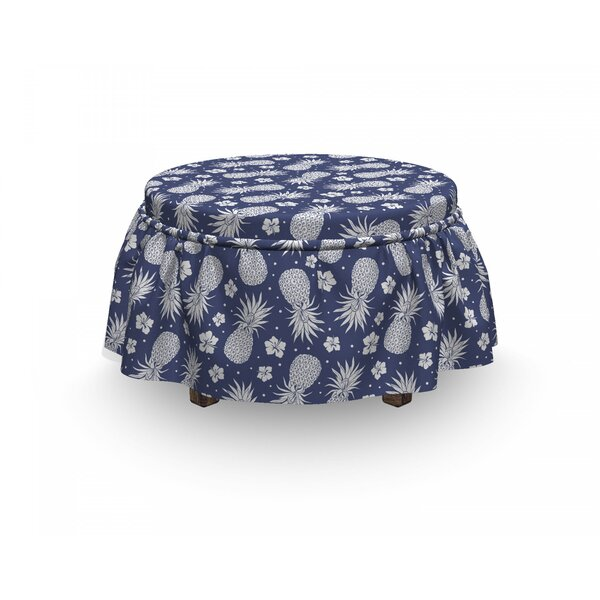 Fruits Pineapple Floral Vintage 2 Piece Box Cushion Ottoman Slipcover Set By East Urban Home