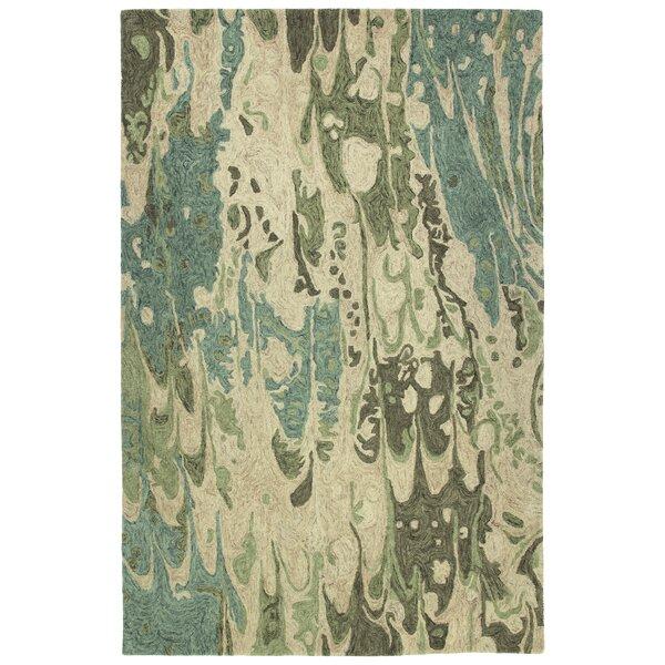 Bargas Hand Tufted Wool Sea Foam/Beige Area Rug by Wade Logan