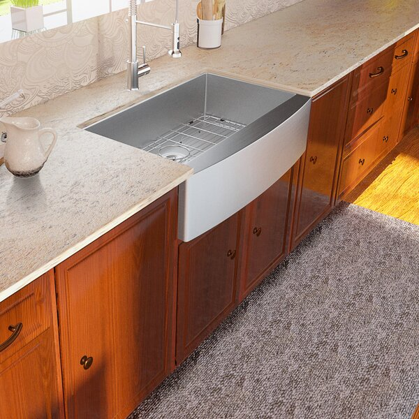 Front Stainless Steel 33 L x 21 W Farmhouse Kitchen Sink with Basket Strainer
