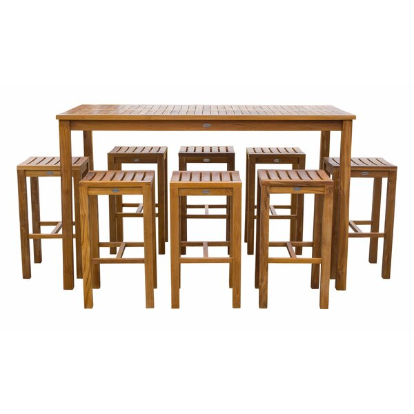 Vaughan Patio 9 Piece Teak Bar Height Dining Set by Bayou Breeze