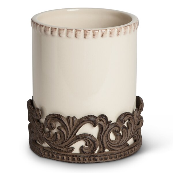 Ceramic Utensil Holder with Metal Base by The GG Collection