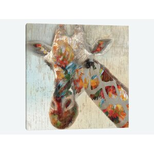 'Paint Splash Giraffe' Graphic Art Print on Canvas by East Urban Home