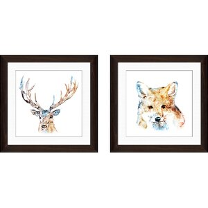 'Watercolour Reindeer' 2 Piece Framed Watercolor Painting Print Set by Union Rustic