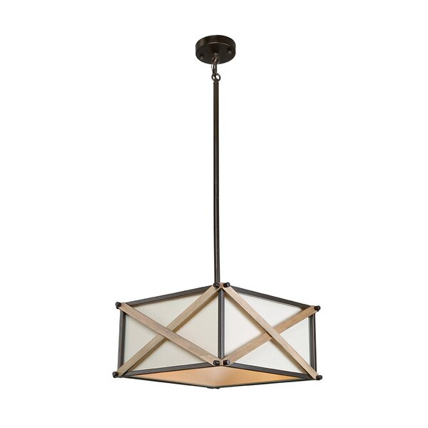 Corcoran 3 - Light Lantern Square Chandelier with Wood Accents by Williston Forge Williston Forge