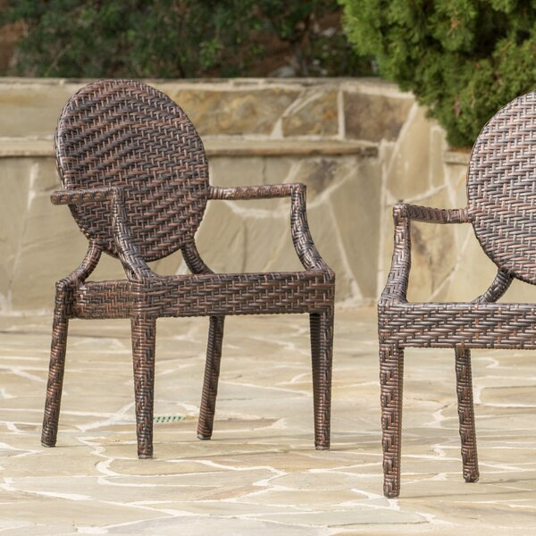 Fenimore PE Wicker Outdoor Chair (Set of 2) by Andover Mills
