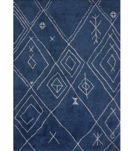 Kerin Moroccan Handmade Blue/White Area Rug by Bloomsbury Market