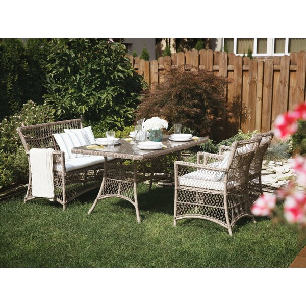 Oliveira Wicker 4 Piece Dining Set with Cushions by One Allium Way