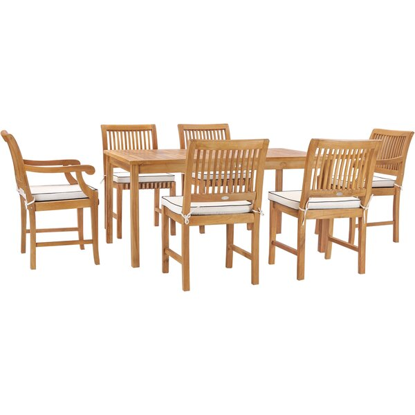 Dayne 7 Piece Teak Dining Set with Cushions by Bay Isle Home