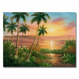 'Pacific Sunset' by Rio Painting Print on Canvas by Trademark Fine Art