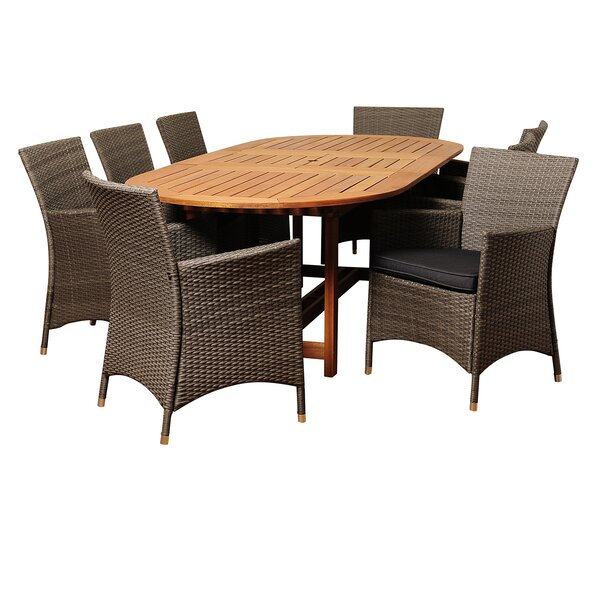 Canaday International Home Outdoor 9 Piece Dining Set with Cushions by Breakwater Bay