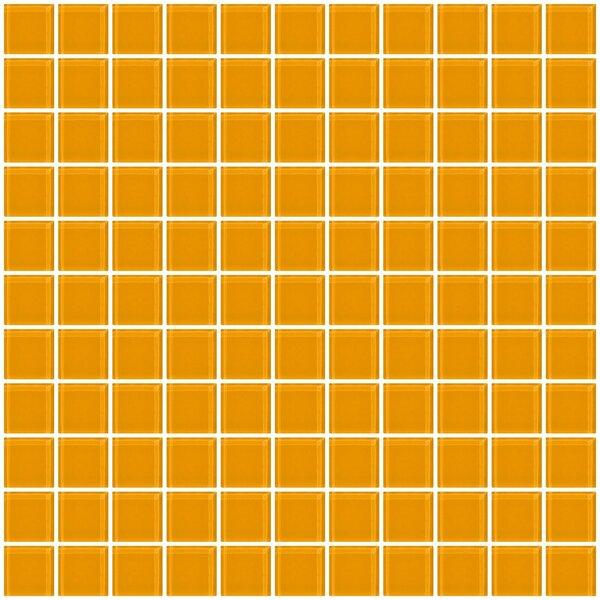 1 x 1 Glass Mosaic Tile in Glossy Light orange by Susan Jablon