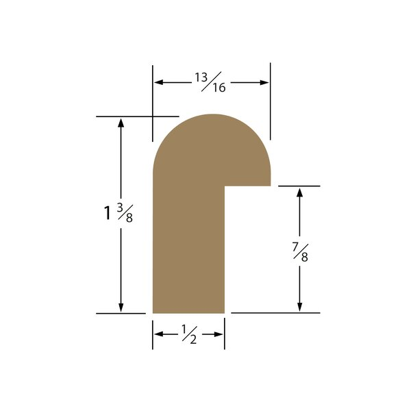 1.38 x 0.81 x 60 Solid Teak Straight Length Edge Molding by SeaTeak