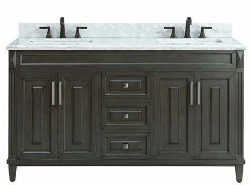 Potvin Marble Top 61 Double Bathroom Vanity Set by Gracie Oaks