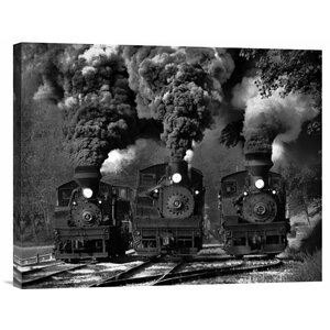 'Train Race in Bw' by Chuck Gordon Photographic Print on Wrapped Canvas by Global Gallery