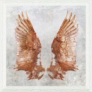 'Rose Gold Wings' Framed Graphic Art Print by Oliver Gal