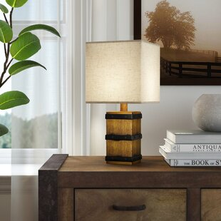 Rustic table lamps youll love wayfair hyeres square barrel 155 table lamp aloadofball Choice Image