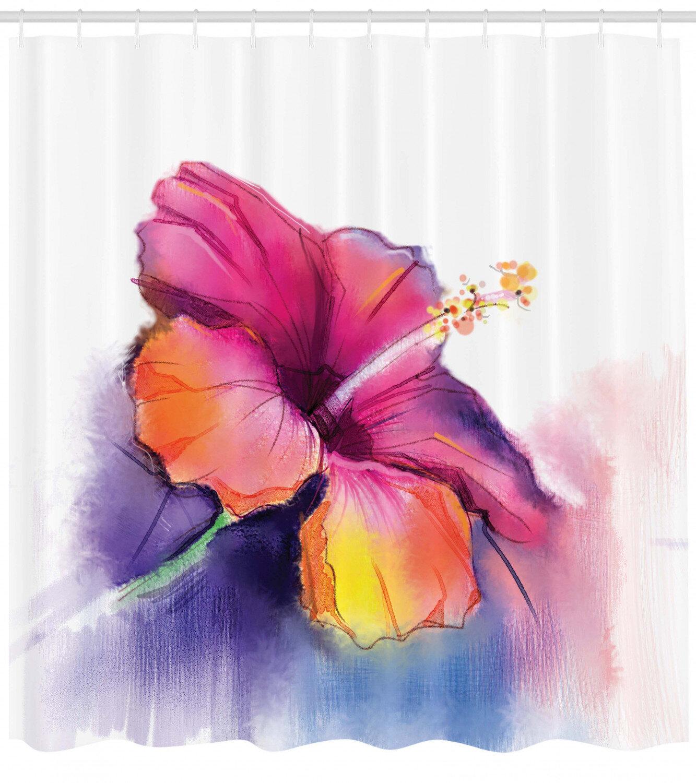 East Urban Home Watercolor Flower Home Hibiscus Flower In Pastel Abstract Romantic Petal Pattern Shower Curtain Set Reviews Wayfair
