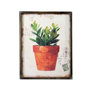 'Potted Green' Framed Graphic Art Print on Wood by Gracie Oaks