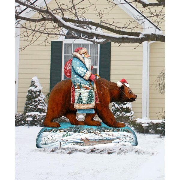 Grizzly Bear Santa Lawn Art by The Holiday Aisle