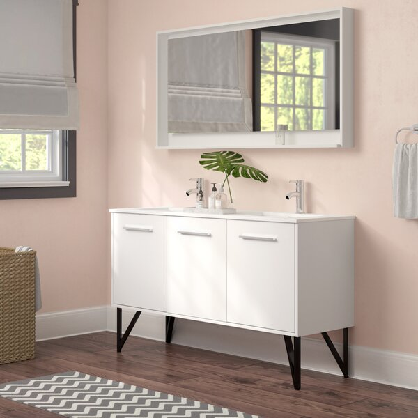 Almaraz 59 Double Bathroom Vanity Set with Mirror by Langley Street