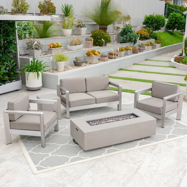 Borja Outdoor 4 Piece Sofa Seating Group with Cushions by Orren Ellis