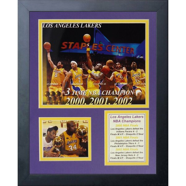 2000-2002 Los Angeles Lakers Three Peat Champions Framed Memorabilia by Legends Never Die