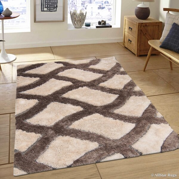 Hand-Tufted Ivory/Brown Area Rug by AllStar Rugs