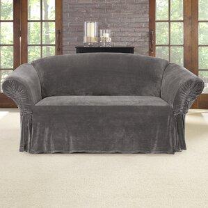 stretch plush box cushion loveseat slipcover