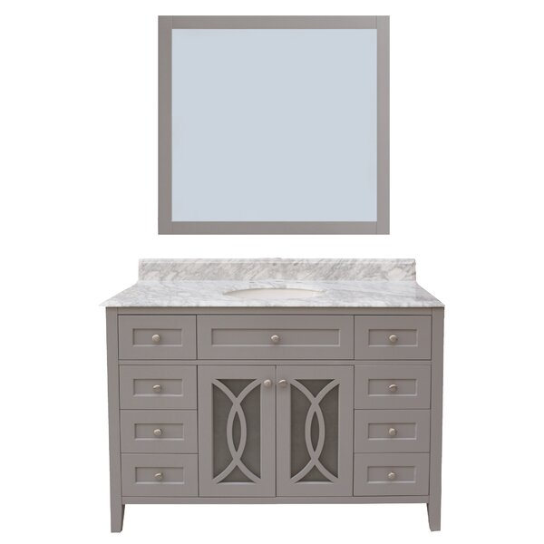 Margaret Garden 48 Single Bathroom Vanity with Mirror by NGY Stone & Cabinet