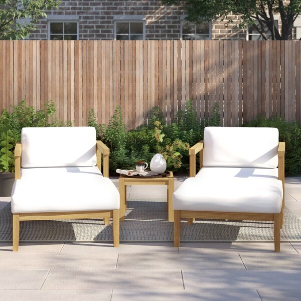 Annalese Outdoor Patio 5 Piece Teak with Cushions by Foundstone