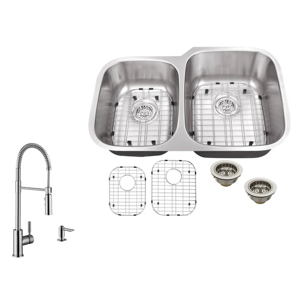 32 L x 20.75 W Double Bowl Undermount Kitchen Sink with Faucet by Soleil