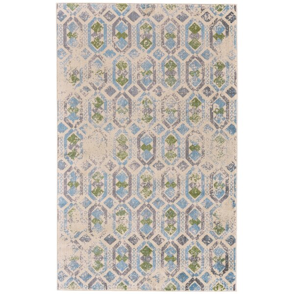 Knuth Aqua/Cream Area Rug by Winston Porter