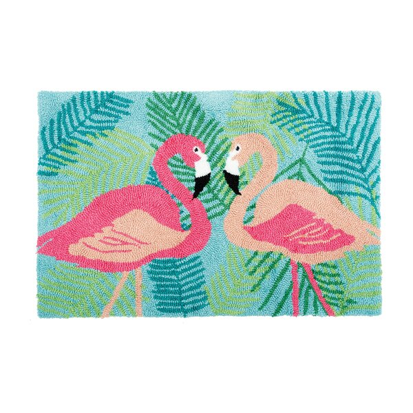Concord 2 Flamingos Machine Hooked Blue Indoor Area Rug by Bay Isle Home