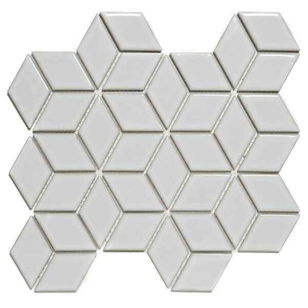 Paris Rhombus Glossy 1.9 x 3.19  Porcelain Mosaic Tile in White by The Mosaic Factory