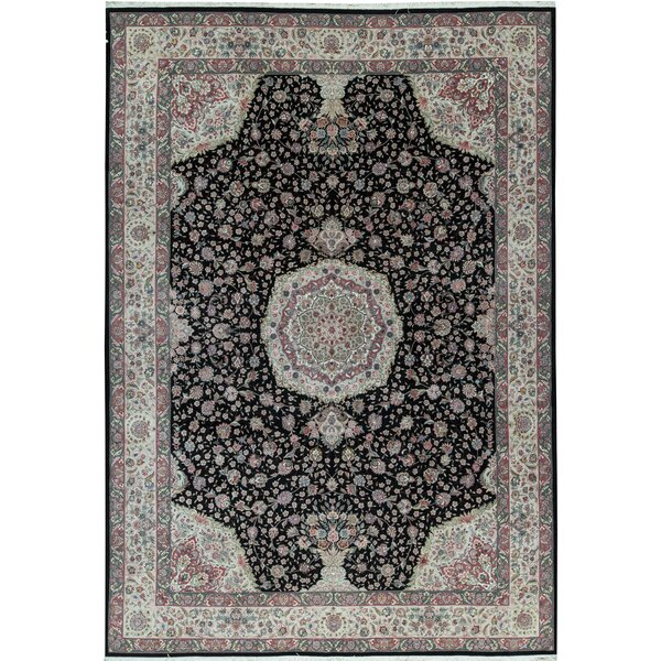 One-of-a-Kind Shah Hand-Knotted Black/Red 10' x 14' Wool Area Rug