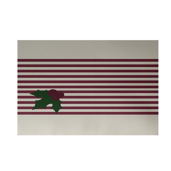 Holly Stripe Decorative Holiday Stripe Print Cranberry White Indoor/Outdoor Area Rug by The Holiday Aisle