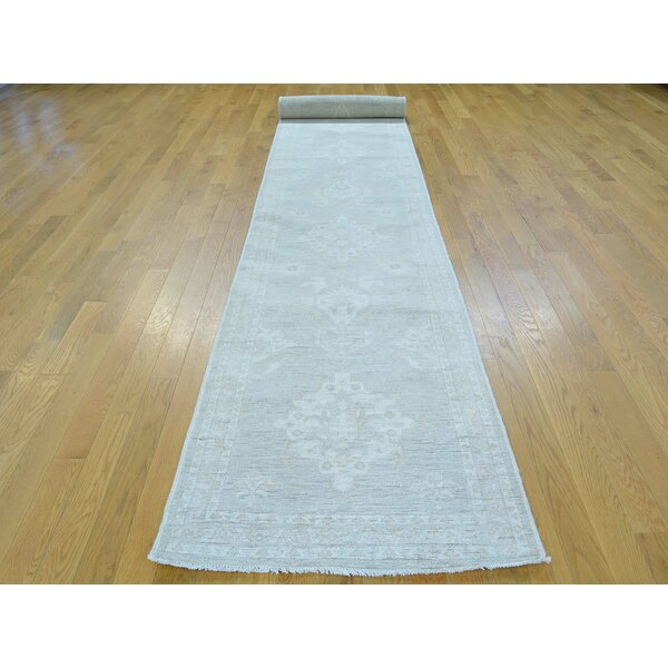 One-of-a-Kind Bearer Washed Out Handwoven Beige Wool Area Rug by Isabelline