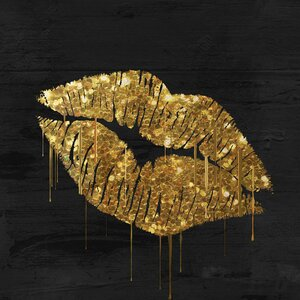 'Golden Lips' by Color Bakery Graphic Art on Wrapped Canvas by East Urban Home