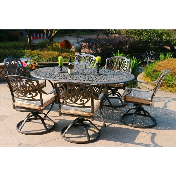 Baltazar Aluminum 7 Piece  Dining Set with Cushions by Canora Grey