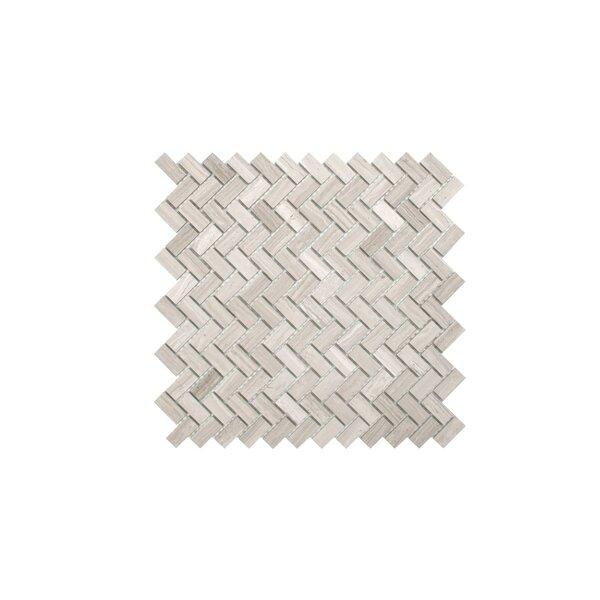 Sadie 0.6 x 1.3 Marble Mosaic Tile in Wooden White by Maykke